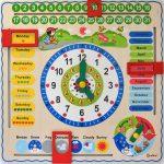 英語の知育時計おもちゃ 季節・月・日・曜日・とけい・天気が学べる木製玩具